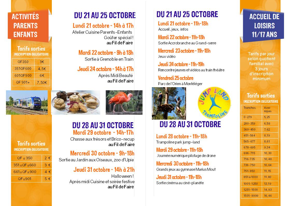 programme Automne 19 verso